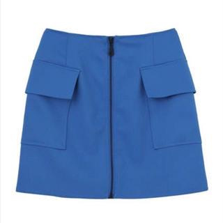エモダ(EMODA)の正規新品 EMODA KERSEYジップスカート Sサイズ BLUE(ミニスカート)
