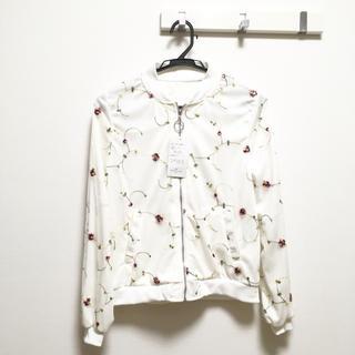 新品チュール刺繍ブルゾン白 花柄 フラワー レディース ホワイトかわいい デート(ブルゾン)