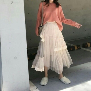 Lily Brown - LACE TULLE FRILL LONG SKIRT.