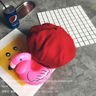 秋冬アルファベットウールかぼちゃ型ベレー帽 レッド(ニット帽/ビーニー)