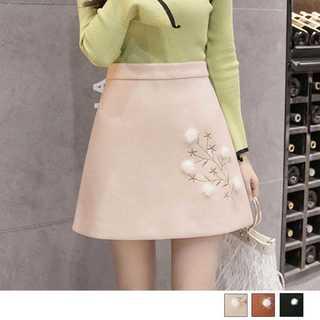 ファー付き 刺繍入り 台形スカート ミニ aライン レディース 高品質 お洒落(ミニスカート)