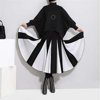 大人気‼ Aラインフレアスカート モード系 バイカラー ロングスカート 白黒(ロングスカート)