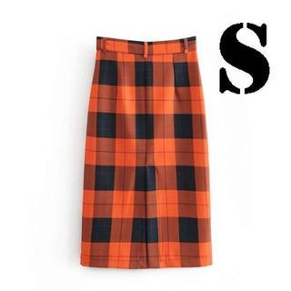 大人気‼ チェック柄 ロングスカート ペンシルスカート S(ロングスカート)