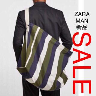 ZARA - ZARA MAN ストライプ柄 ショルダー ラージトートバッグ、