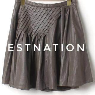 エストネーション(ESTNATION)のESTNATION【美品】フェイク レザー 立体 プリーツ スカート(ミニスカート)
