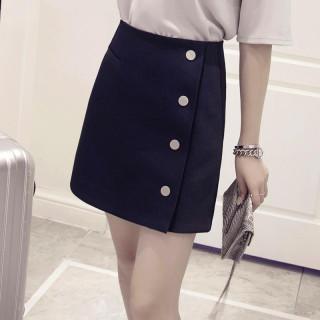 シングルブレスト カジュアル スカート(ミニスカート)
