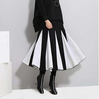 モード系 Aライン ロングスカート ブラック&ホワイト(ロングスカート)