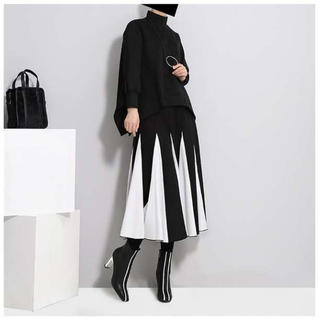 モード系 フレアスカート バイカラー ロングスカート 白黒(ロングスカート)