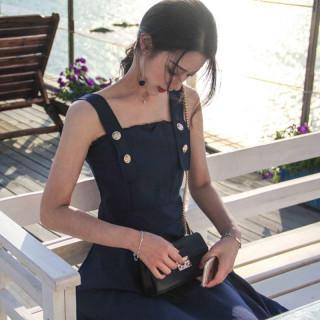夏ドレス ハーネスカラー ワイドショルダー ストラップ 人気商品!ワンピース(ひざ丈ワンピース)