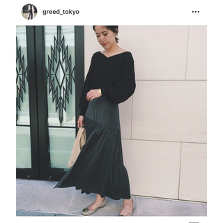 グリード(GREED)のGREED international スパークルラメフレアスカート(ロングスカート)