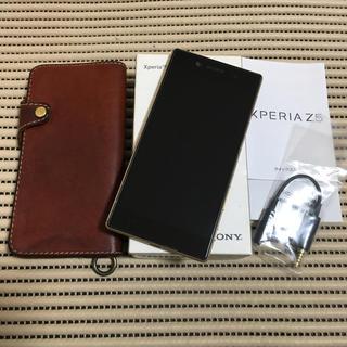 エクスペリア(Xperia)のXperia Z5 ゴールド 美品  栃木レザーケース付き(スマートフォン本体)