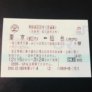 ジェイアール(JR)の東北新幹線  はやぶさ指定券 ( 東京〜仙台 )(鉄道乗車券)