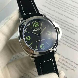 パネライ(PANERAI)のパネライ メンズ ブラックストラップ  ウォッチ デイト  腕時計(腕時計(アナログ))
