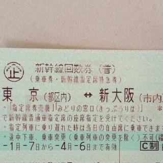 ジェイアール(JR)の新幹線 チケット 1枚、東京⇔新大阪(鉄道乗車券)