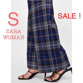 ザラ(ZARA)のSALE!新品未使用 ZARA WOMAN チェック ハイウエスト ワイドパンツ(カジュアルパンツ)