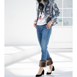 ダブルスタンダードクロージング(DOUBLE STANDARD CLOTHING)の新品ダブルスタンダードクルージング ファー付きデニム☆グレースZARA(デニム/ジーンズ)