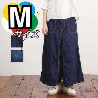 キューブシュガー(CUBE SUGAR)のインディゴ  スカートパンツ  ガウチョ  ワイドパンツ カジュアル  シンプル(デニム/ジーンズ)