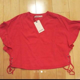 ザラ(ZARA)のZARA新品たぐつきカットソー(Tシャツ(半袖/袖なし))