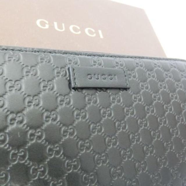 54b6c921cc58 Gucci(グッチ)の新品 GUCCI 長財布 マイクロ GG シマレザー ラウンドファスナー 黒 メンズ