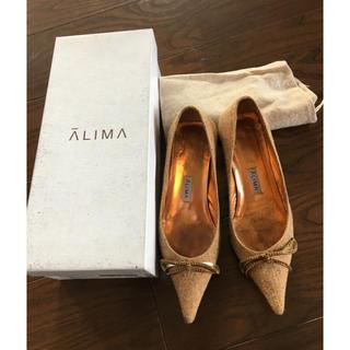 アリマ(ALIMA)のお値下げ  アリマALIMAツイードリボンパンプス(ハイヒール/パンプス)