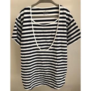 MUJI (無印良品) - 無印 オーガニックコットン天竺授乳に便利なTシャツ ネイビー×ボーダー