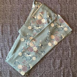 フリフ(ふりふ)の東レシルック洗える着物 小紋 袷 薄緑青地に四季の花唐草(着物)