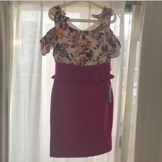 ジュエルズ(JEWELS)のキャバドレス 花柄 ピンクパープル(ナイトドレス)