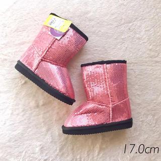 シマムラ(しまむら)の新品タグ 17.0 キラキラ スパンコール ボア ブーツ メタリック ピンク(ブーツ)