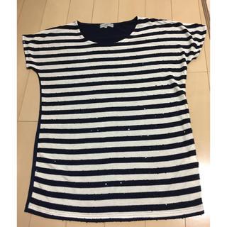 シマムラ(しまむら)の値下げ ボーダー Tシャツ カットソー しまむら シンプル(Tシャツ(半袖/袖なし))