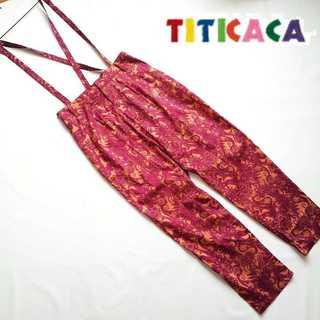 チチカカ(titicaca)のチチカカ★リトグラフフラワーサスペンダー付きパンツ S エスニック ゆったり(カジュアルパンツ)