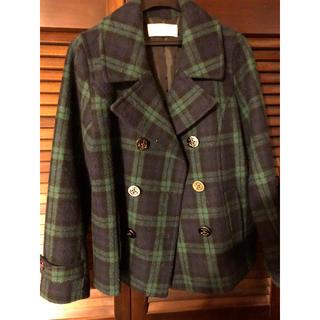 ショコラフィネローブ(chocol raffine robe)のchocol raffine robe Pコート グリーン チェック(ピーコート)