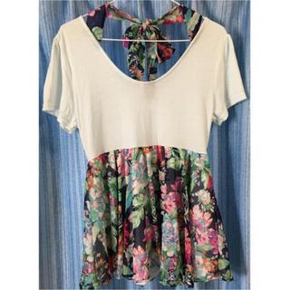 シマムラ(しまむら)の花柄ブルーTシャツ(Tシャツ(半袖/袖なし))