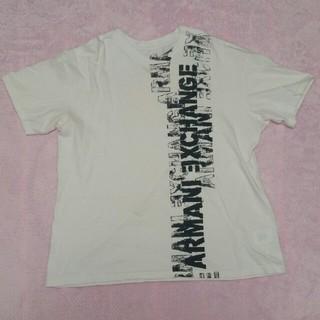 ARMANI EXCHANGE - 格安アルマーニエクスチェンジTシャツSロゴ入りAX綿100%ホワイト×グレー