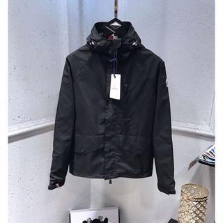 モンクレール(MONCLER)のmoncler薄いジャケットメンズLサイズブラック(ノーカラージャケット)