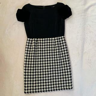 ダブルスタンダードクロージング(DOUBLE STANDARD CLOTHING)のダブルスタンダードクロージング ブラック 千鳥格子 ドッキングワンピース (ミニワンピース)