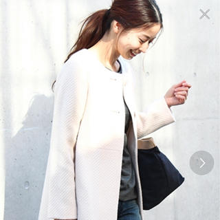 デミルクスビームス(Demi-Luxe BEAMS)のDemi-Luxe BEAMSのオフホワイトのコート☆38サイズ☆(ロングコート)