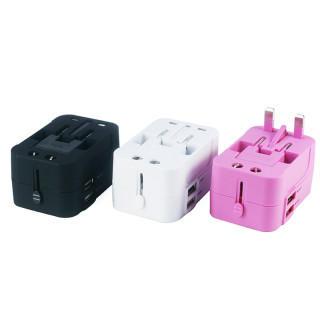変換プラグ 海外旅行用コンセント 安全旅行充電器 ACアダプタ  ピンク(その他)