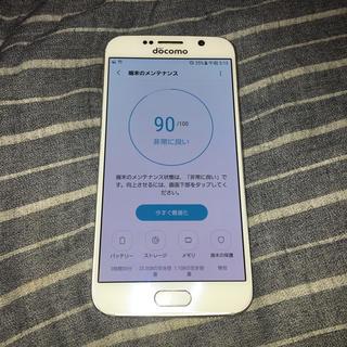 サムスン(SAMSUNG)のdocomo galaxy s6 ホワイト 32ギガ バッテリー良好(スマートフォン本体)