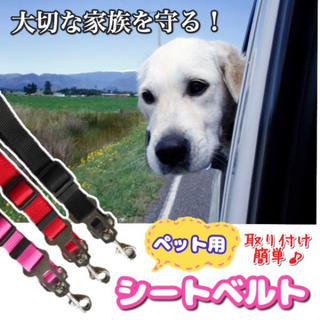 ♡ペット用シートベルト♡クリップ付 装着簡単 犬猫用 調整可能 全3色(その他)