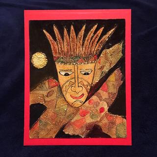 ガーナ土産;【新品】手描き民俗画(絵画/タペストリー)