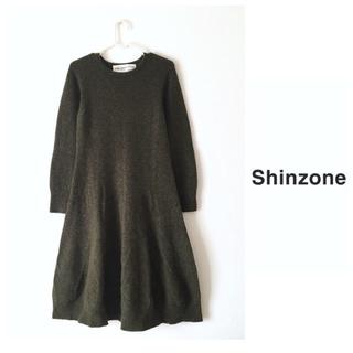 シンゾーン(Shinzone)のザシンゾーン*フレアニットワンピース カーキ ウール100%(ひざ丈ワンピース)