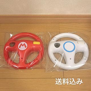 ウィー(Wii)の【任天堂WiiU】マリオカート8 マリオレッド・シロハンドルセット(家庭用ゲーム本体)