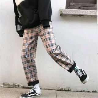 【男性用】新品 チェック柄 ストライプ 裏起毛 パンツ ズボン