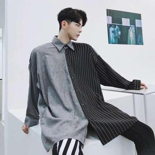 ツートンシャツ オーバーサイズ 韓国シャツ ストライプ柄 折襟 ストリート系(シャツ)