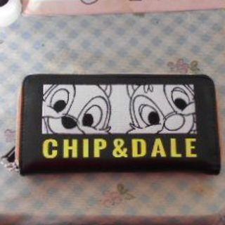 ディズニー(Disney)の新品・未使用💕チップ&デールロゴテープ付きウォレット(ラウンド型)(財布)