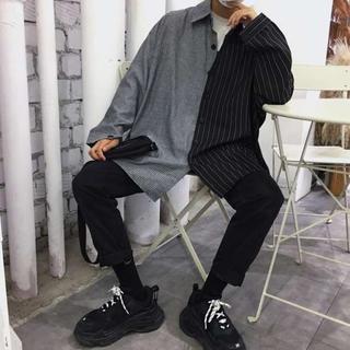 *新品!ビックシルエット 韓国 ストリート バイカラー モード 系 シャツ(シャツ)