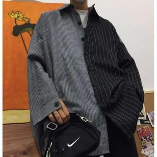 韓国 ストライプ柄 折襟 ストリート系 オーバーサイズ 韓国シャツ(シャツ)