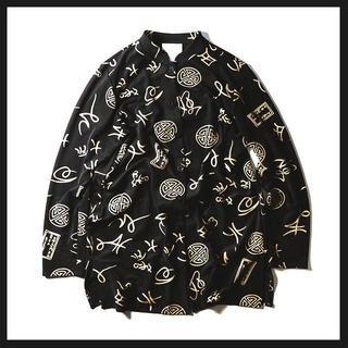 【メンズ古着】モード系・ビッグサイズの柄シャツ・ロングシャツ(ブラック/Lサイズ(シャツ)