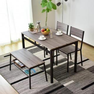 木目調 ダイニングテーブル ベンチ セット ブラウン(ダイニングテーブル)