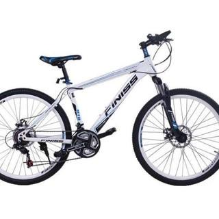 【LEDライト&鍵セット】21段速ギア マウンテンバイク ホワイト(自転車本体)